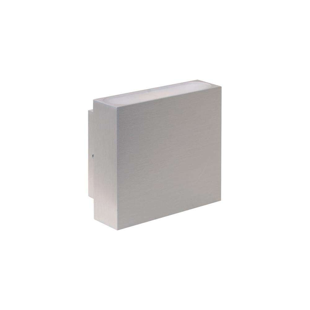 Wafer Surface Mount Up/Down Wall Light 3K 6W - Brushed Aluminium