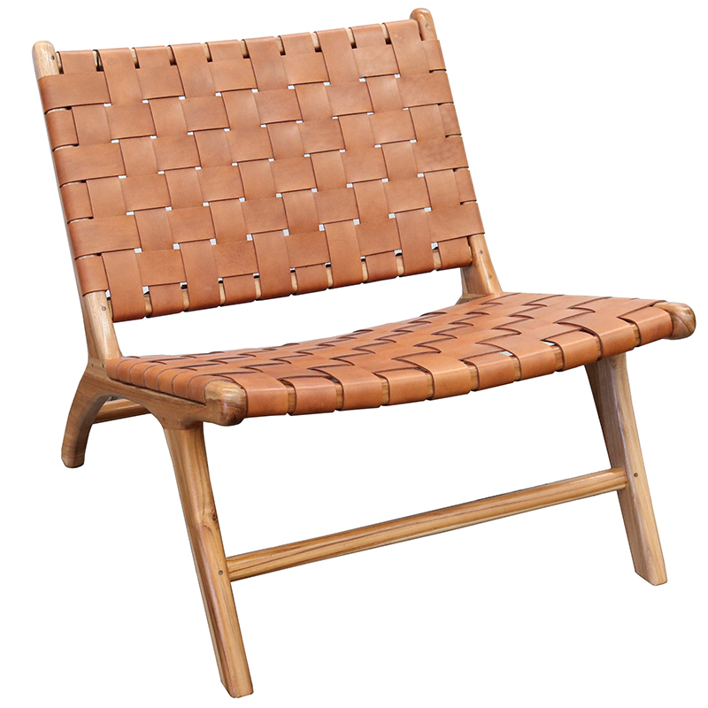 London Lazy Leather Chair - Natural + Tan Leather